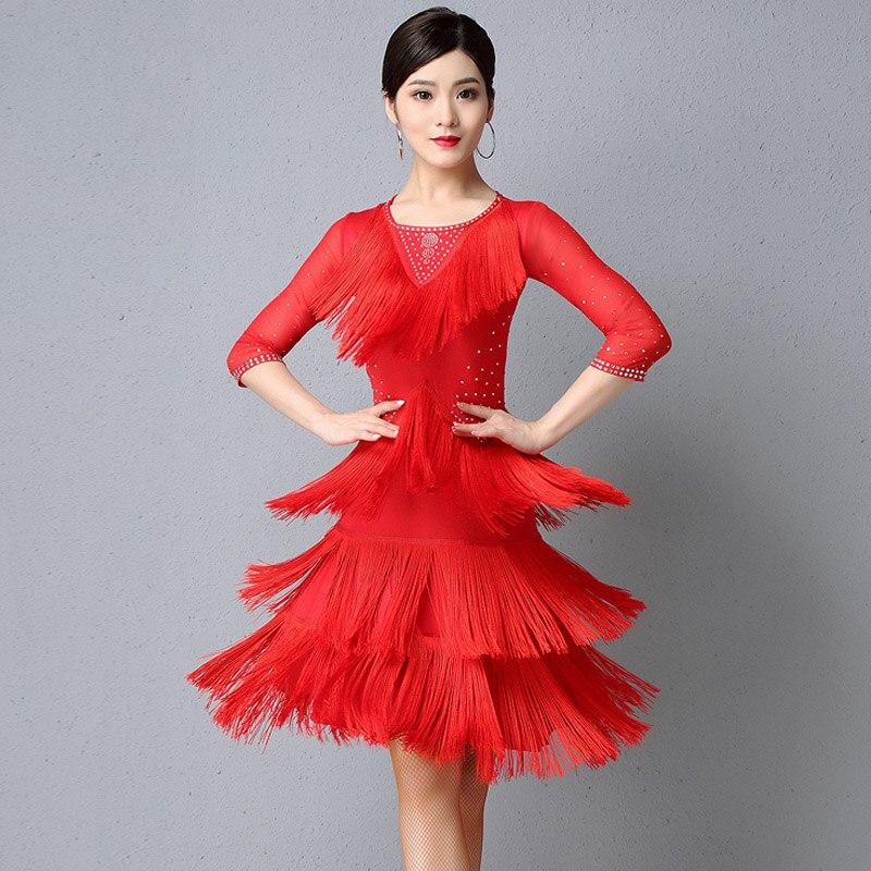 2019 New Women'S Latin Dance Performance Dress Professional Ballroom Samba Clothes Female Rhinestone Sexy Tassel Dress DL4706