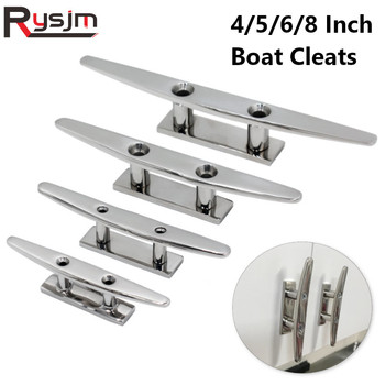 4″ 5″ 6″ 8″ Low Flat Cleat  316 Stainless Steel 2 Hole Hardware boat cleats For Marine Boat Deck Rope Tie yacht accessories