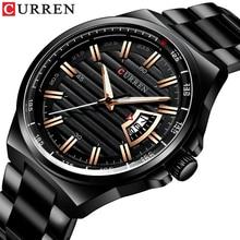 גברים יוקרה מותג קוורץ שעון CURREN נירוסטה בנד שעוני יד אופנה סגנון שעון גבר אוטומטי תאריך Relogio Masculino