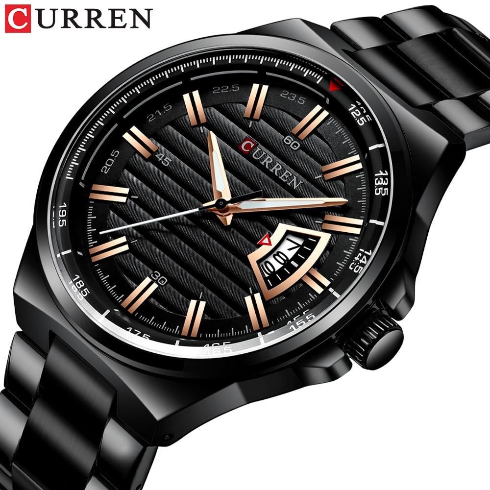 Men Luxury Brand Quartz Watch CURREN Stainless Steel Band Wristwatch Fashion Style Watch Man Auto Date Relogio Masculino