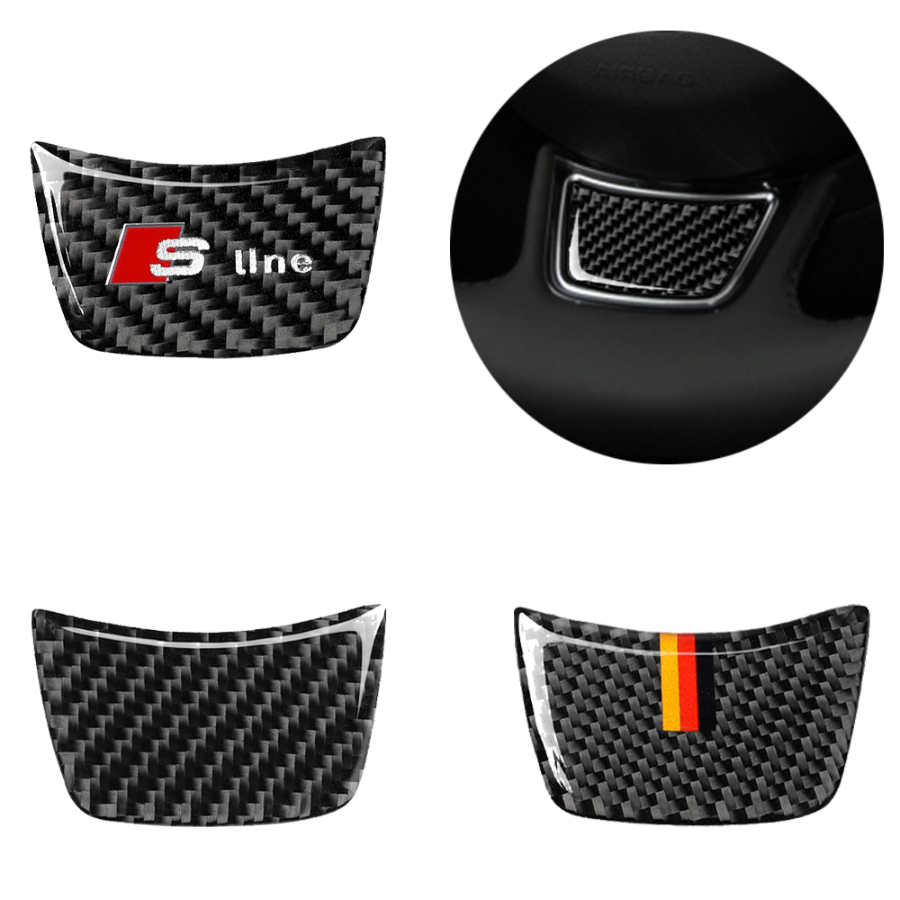 Carbon fiber car interior decoration, steering wheel logo decoration, Suitable For Audi A3 A4 A6 Q3 Q5 Q7 car stickers,