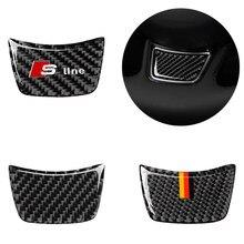 Carbon fiber car interior decoration, steering wheel logo decoration, Suitable For Audi A3 A4 A6 Q3 Q5 Q7 car stickers,