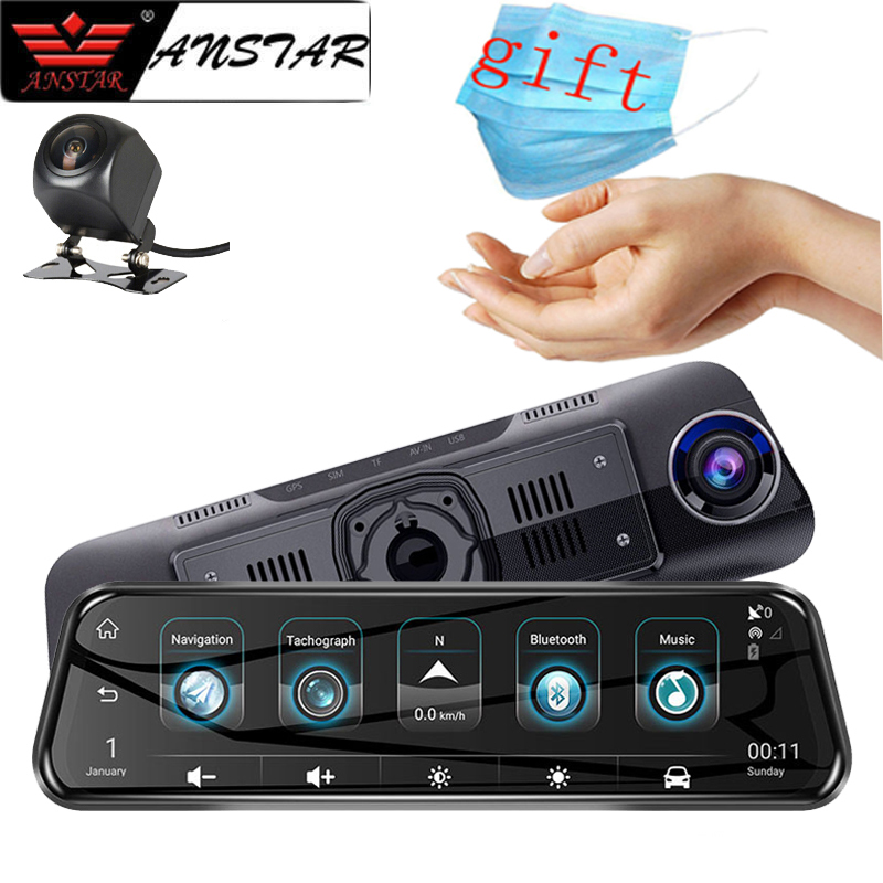 ANSTAR 10'' 4G 3G Rearview <font><b>Mirror</b></font> Dash Cam 1080P Android <font><b>DVR</b></font> <font><b>GPS</b></font> Navigation ADAS WIFI Dual lens <font><b>Car</b></font> Registrar Auto Camera image
