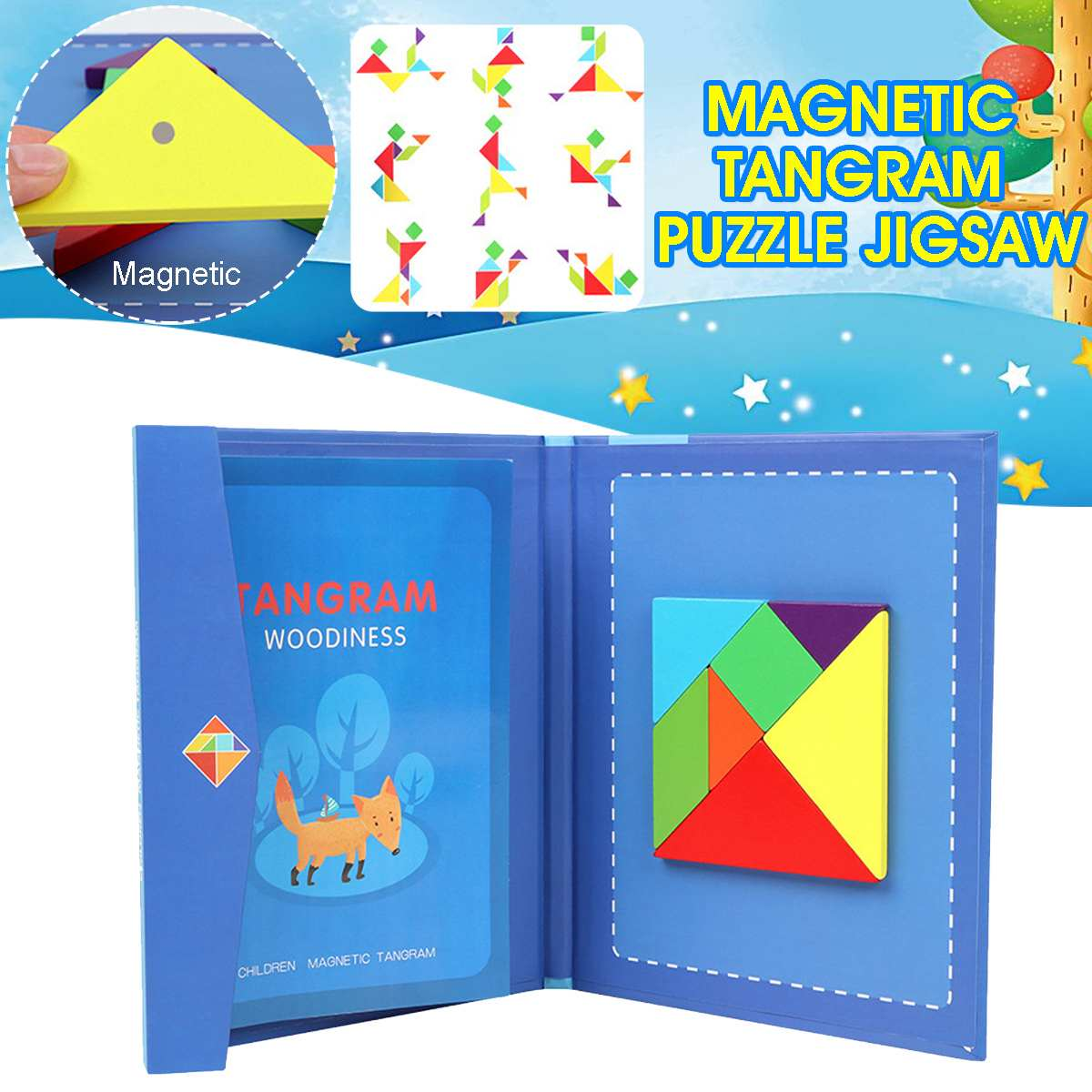 Montessori Magnetic 3D Puzzle Jigsaw Tangram Game Learning Educational Drawing Board DIY Wooden Puzzles Toys Gifts For Children