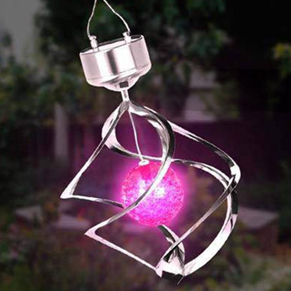 Color Changing Solar Powered LED Wind Chimes Wind Spinner Outdoor Hanging Spiral Garden Light Courtyard Decoration Dropshipping
