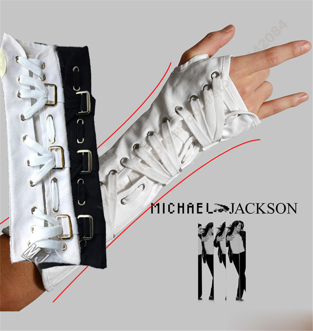 MJ Michael Jackson White And Black Armbrace Jam Black White BAD White Glove Party Sleeves Cosplay Imitation Siample Style Prop
