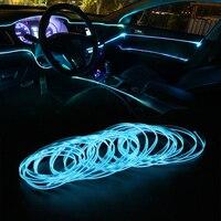 Forauto 3 metros carro flexível neon el fio atmosfera lâmpada auto lâmpadas decoração interior tiras de luz led luzes frias 12v