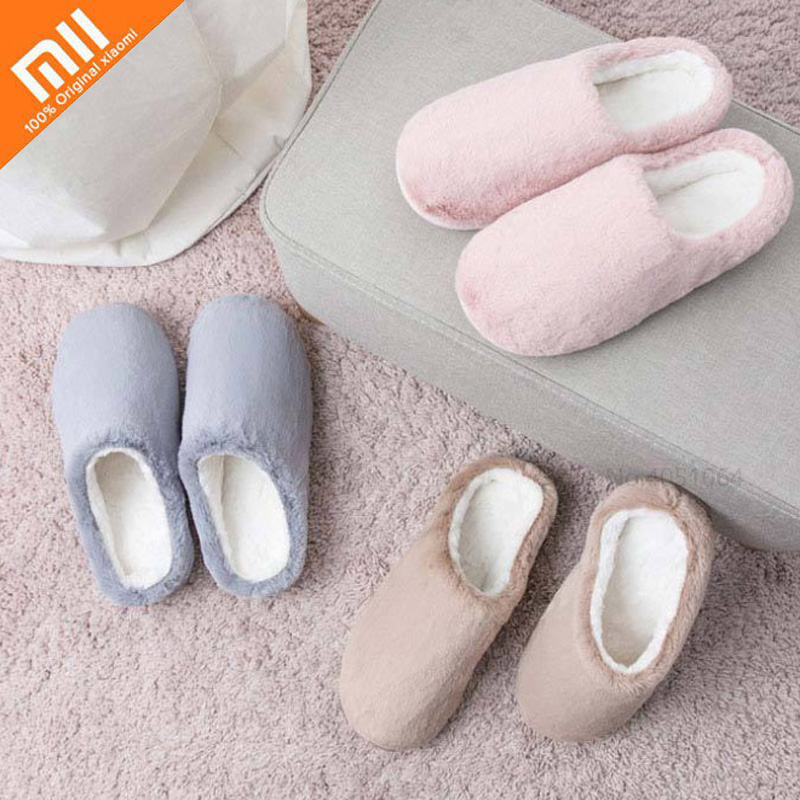 Xiaomi Long Fluff Slippers Women Men Winter Autumn Anti-bacterial Cotton Indoor House Home Slippers Shoes For Family Couple