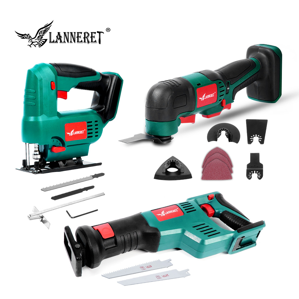 LANNERET No Battery Reciprocating Saw 20V Electric Saw 22mm Stroke With Saw Blades Sawing Cutting Tool Bare Tools
