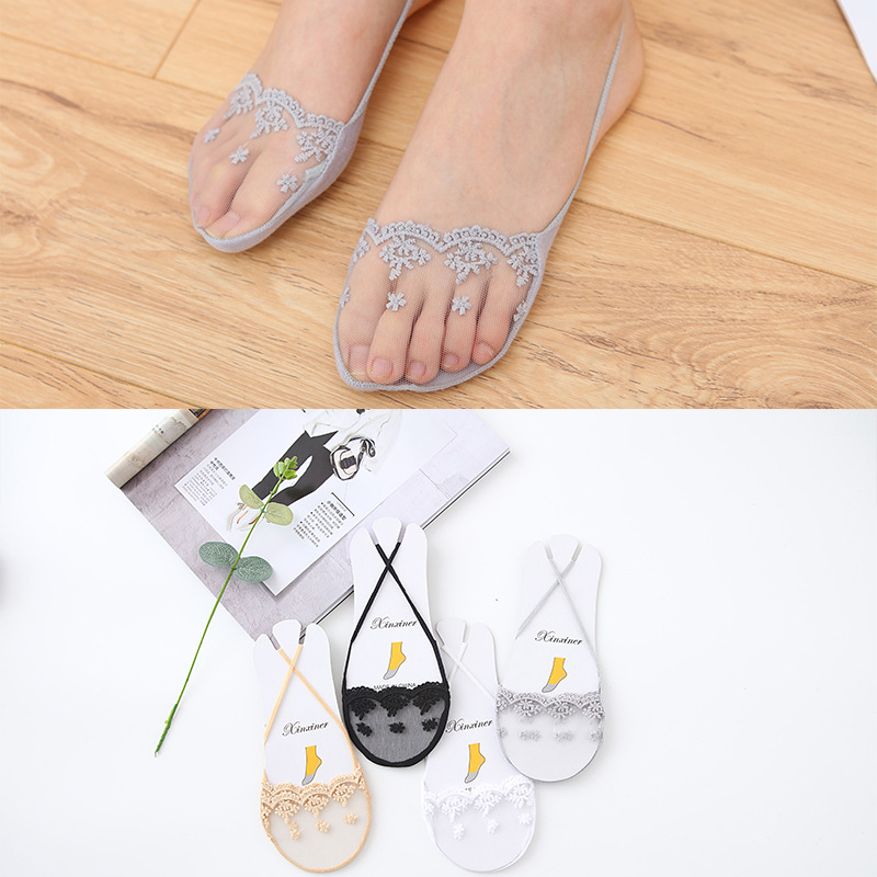 Fashion Ladies Summer Thin Sweat-absorbent Boat Socks Super Shallow Mouth Invisible Socks Silicone Anti-skid Socks Women Tracks