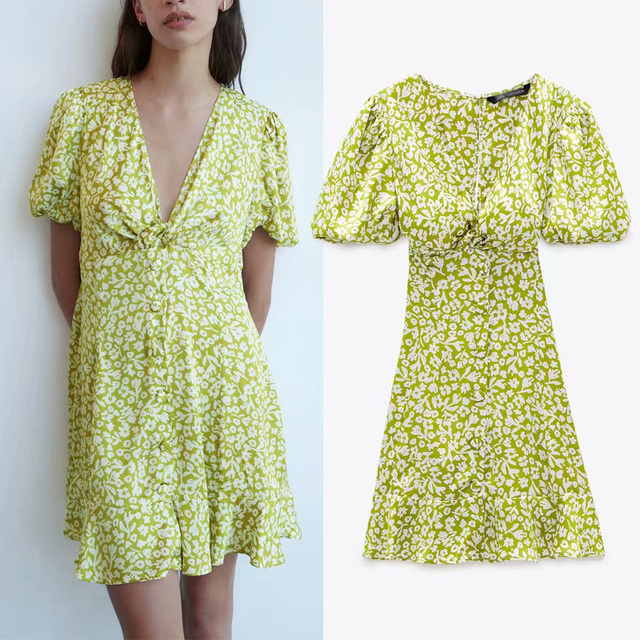 Za Lemon Green Print Mini Woman Dress Summer Puff Sleeve Floral Dresses V-neck Pleated Waist Casual Vintage Dress Women Ruffle 1
