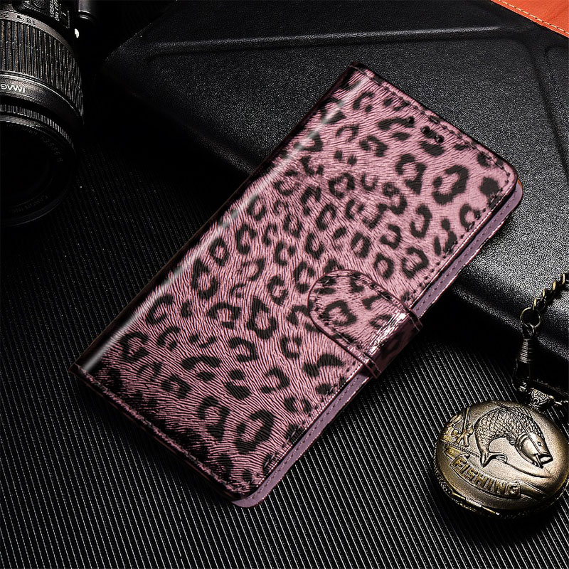Wallet <font><b>Case</b></font> For <font><b>Samsung</b></font> Galaxy S8 S10PLUS <font><b>NOTE8</b></font> Luxury Leather Magnetic Flip Leopard print Cover with lanyard image