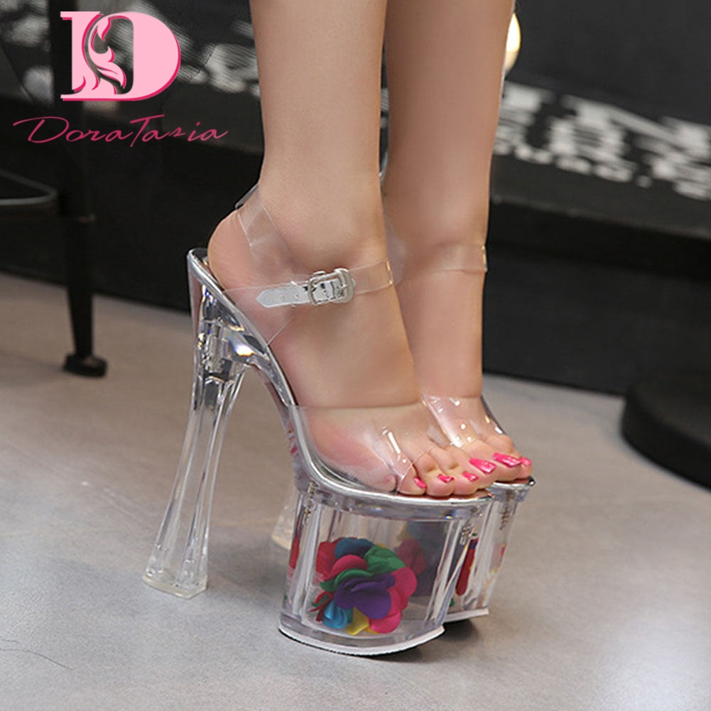 Doratasia 2020 Wholesale <font><b>Extreme</b></font> Clear Heeled <font><b>Fetish</b></font> <font><b>High</b></font> <font><b>Heels</b></font> Platform Women <font><b>Shoes</b></font> <font><b>Sexy</b></font> Party Summer ankle-strap Sandals image