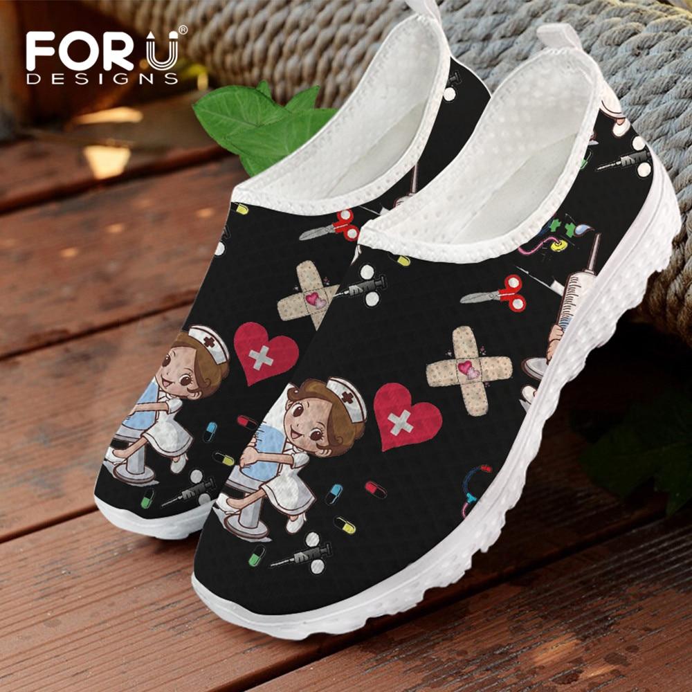 FORUDESIGNS Cute Cartoon Nursing Doctor Printed Flats Shoes Women Casual Summer Slip On Sneakers Lightweight Nurse Ladies Shoe