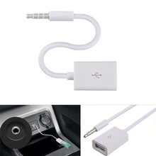 Coche MP3 3,5mm macho AUX Audio Plug Jack a USB 2,0 hembra Cable conversor
