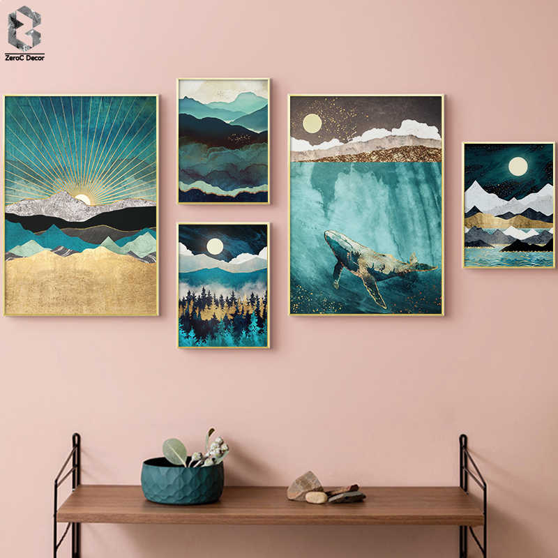 Nordic Abstract Wall Art Geometric Whale Mountain Landscape Canvas Painting Posters and Prints Wall Picture for Living Room