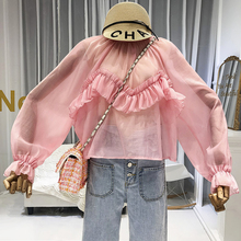 See Through Korean Top Lolita Style Puff Sleeve Blouse Women 2019 Fall New Items Fashion Clothing loose shirts green