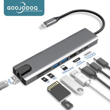 USB C Hub type-c 3 1 do 4K kompatybilny z HDMI RJ45 USB czytnik kart SD TF PD szybkie ładowanie 8-w-1 stacja dokująca USB dla MacBook Air Pro PC HUB tanie i dobre opinie GOOJODOQ usb typu c CN (pochodzenie) HDMI Czytnik Kart RJ45 USB 3 1 Rohs 15cm Brak