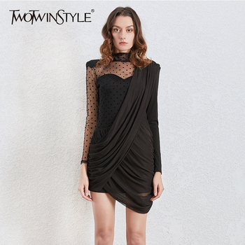 TWOTWINSTYLE Vintage Asymmetrical Dot Mesh Dresses Female Stand Collar Puff Long Sleeve High Waist Ruched Dress Women 2020 Tide