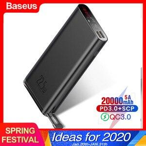 Baseus power Bank SCP 20000mAh PD USB Quick Charge 3,0 power bank портативный внешний аккумулятор быстрое зарядное устройство для iPhone Xiaomi huawei