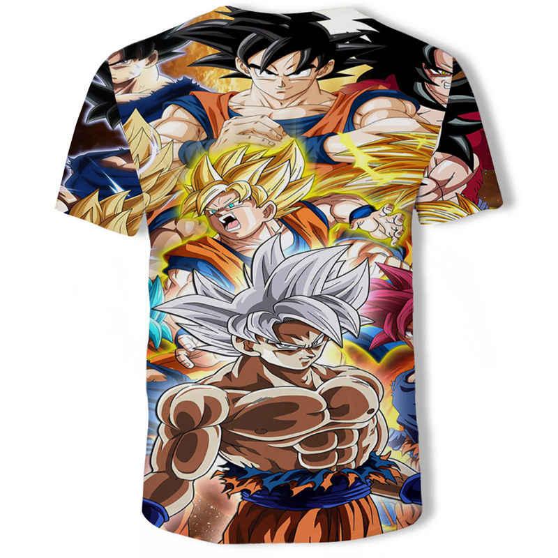 Dragon topu Z Ultra Instinct tanrı Son Goku süper Saiyan erkekler Tshirt 3D baskılı yaz o-boyun günlük rahat komik T shirt fiş