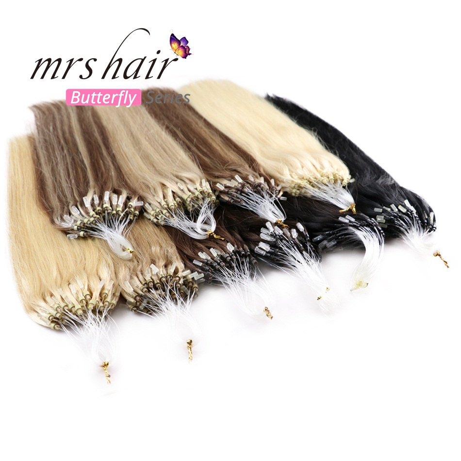 MRSHAIR Micro Ring Hair Extensions 1g/Stand 50pieces Machine Remy Micro Bead Hair Loop Human Hair 14