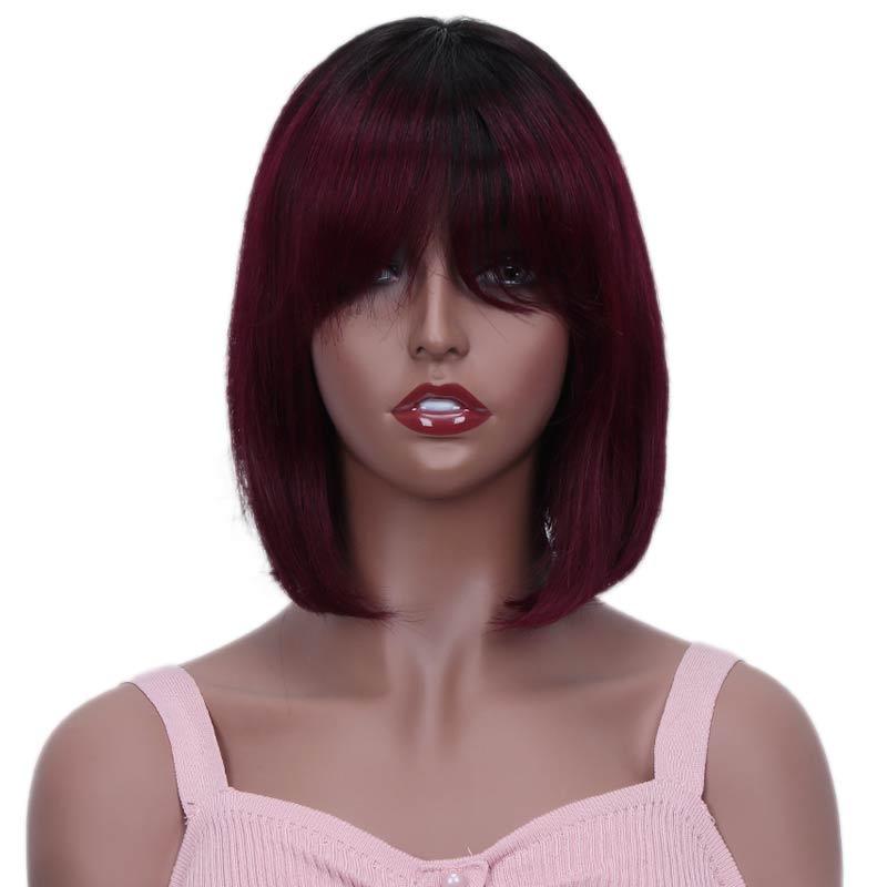 Rebecca разноцветные короткие прямые волосы парик перуанский Remy человеческие волосы парики для черных женщин коричневый Омбре красный синий