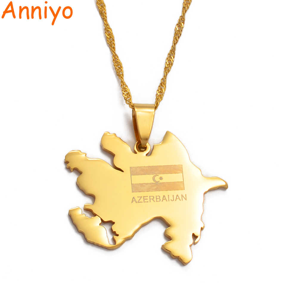 Anniyo Gold Color Azerbaijan Map Flag Pendant Necklaces Azerbaycan Of Maps Jewelry Gifts 010521 Pendant Necklace Map Goldmap Pendant Aliexpress