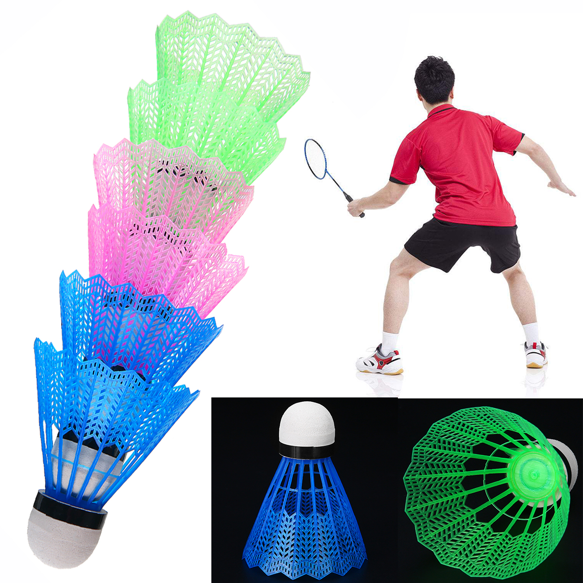 Multicolor 6Pcs Shuttlecocks Plastic Badminton Balls Training Exercise Tools For Game Leisure Indoor Outdoor Sport