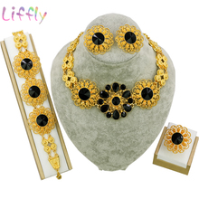 Fashion Jewelry Sets Dubai Gold for Women African Necklace Earrings Ring Bracelet Bridesmaid