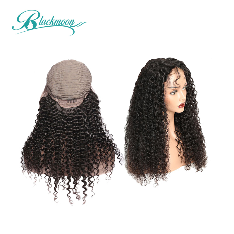 Mongolian Afro Kinky Curly Wig Natural 1B 13x4 Lace Front Human Hair Wigs 150% Density Remy Hair Wigs 8-24 Inch Blackmoon Hair