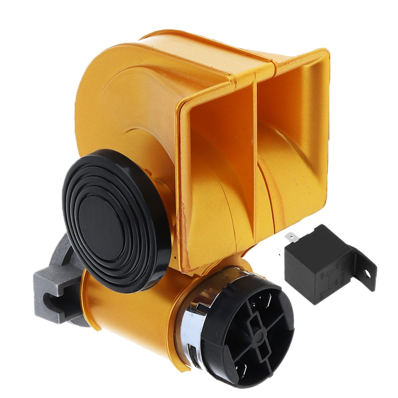 12V Lacquered Gold Snail <font><b>Horn</b></font> <font><b>139Db</b></font> Loud Car Double Air <font><b>Horn</b></font> for Auto Vehicle Bikes Motorcycle Yacht Boat Suv image