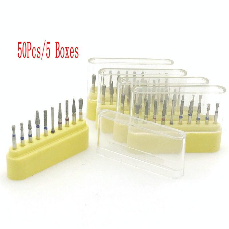 50pcs/5Boxes Dental Diamond Burs Set 1.6mm For High Speed Handpiece Dentist Tools Dental Inlay/Onelay Preparation Burs