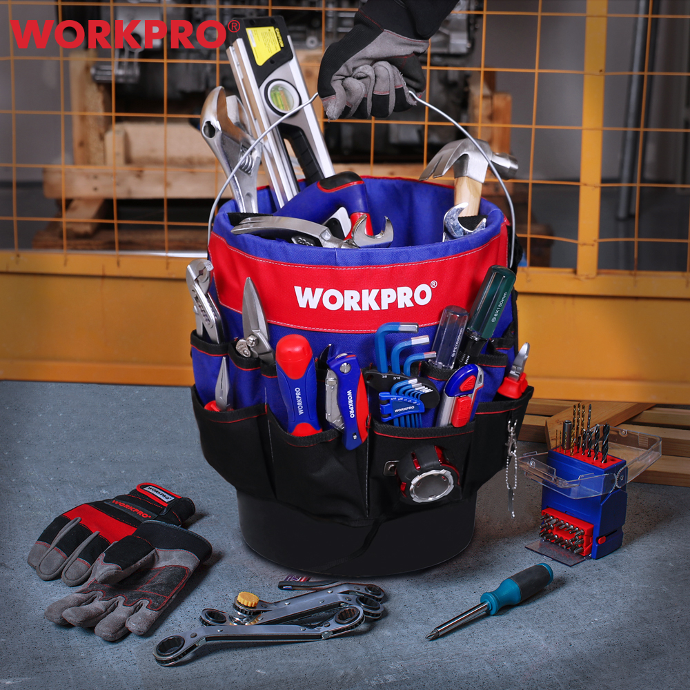WORKPRO 5 Gallon Bucket Organizer Bucket Tool Bag With 39/51 Storage Pockets Fits to 3.5-5 Gallon Bucket (Tools Excluded)