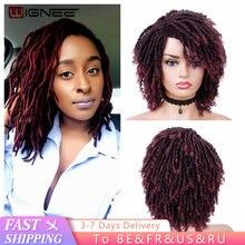 Wignee короткие бордовые синтетические парики для чернокожих