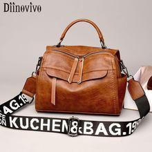 DIINOVIVO Vintage Ladies Handbags Soft Sheepskin Leather Women Shoulder Crossbody Bag Female Casual Long Strap WHDV1286