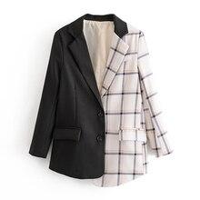 Women Office Wear Plaid Patchwork Blazer Coat Long Sleeve Pockets Female Outerwe