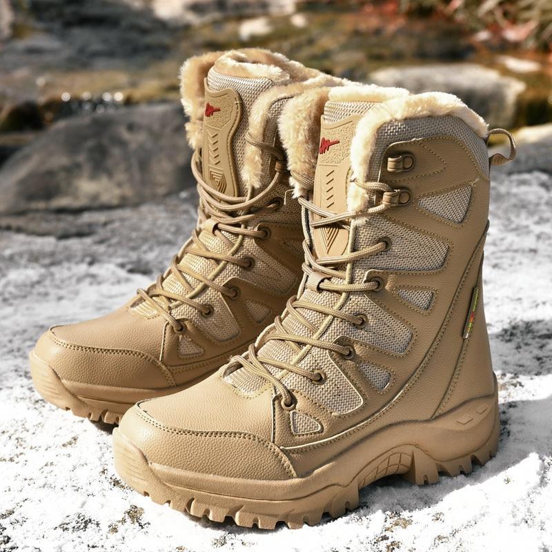 Kids Boys Military Combat Biker Winter Warm Fur Lined Snow Boots Hiking Shoes