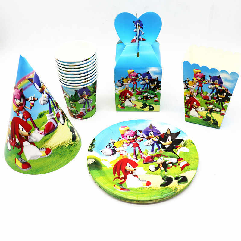 Sonic The Hedgehog Feestartikelen Papier Cup Borden Servetten Super Hero Folie Ballon Set Kids Toys Jongen Verjaardag Party Decor