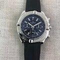 Роскошные брендовые новые мужские спортивные часы с хронографом и сапфировым стеклом серебристого и черного цвета, чехол из холщовой резин...