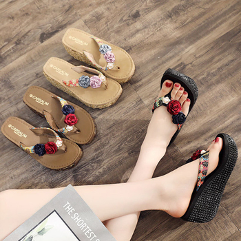 LEOSOXS Flip Flops Casual Women's Slippers 2017 New Beach Platform Shoes For Woman Summer Cloth Females Flip Flops
