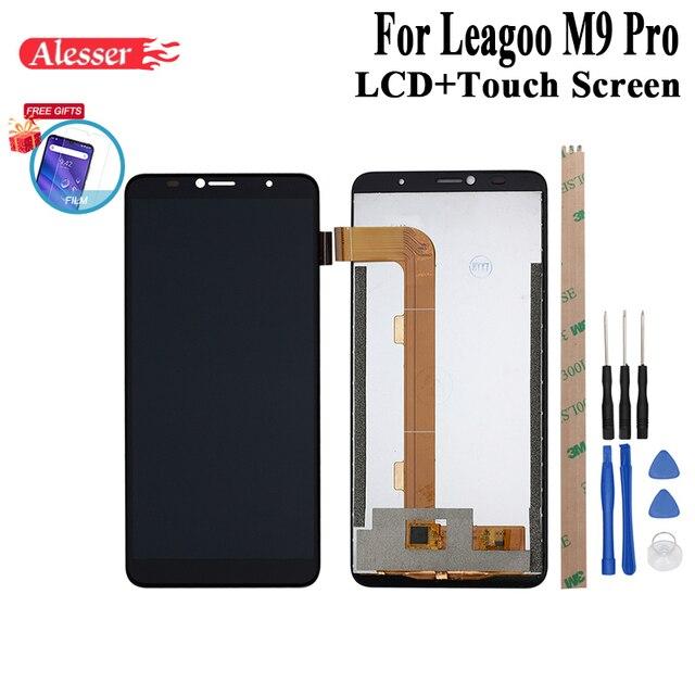 Alesser para leagoo m9 pro display lcd e montagem da tela de toque peças reparo com ferramentas + adesivo para leagoo m9 pro telefone + filme