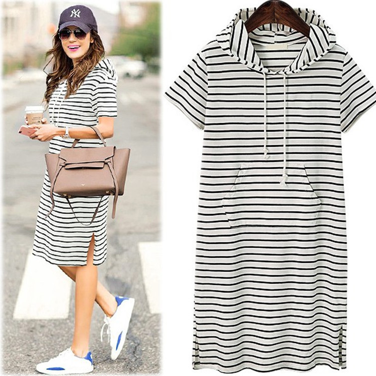 European And American Style Large Size Women's Striped Knit Hooded Short Sleeve Long Section Split Dress