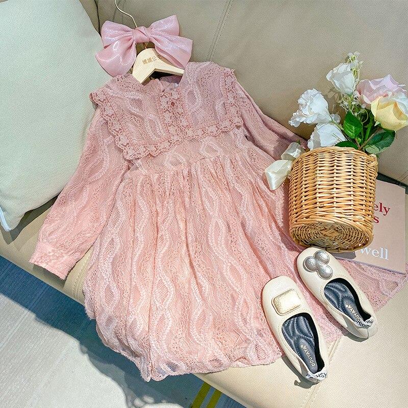2021 meninas crianças roupas nova primavera vestido de princesa manga longa meninas vestido de renda quente vestido para a menina algodão vestido de festa