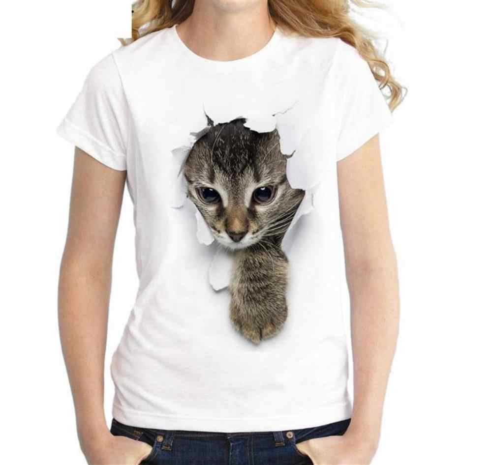 2019 women 3D cute cat print T-shirt Tops Tee Summer Female T shirt Girls Short Sleeve T shirt For Women Clothing