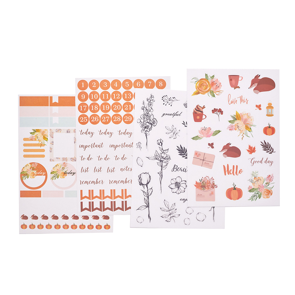Lovedoki Autumn Pumpkin Christmas Stickers Color Diary Bullet Journal Sticker Scrapbooking Planner Decorative Sticker Stationery