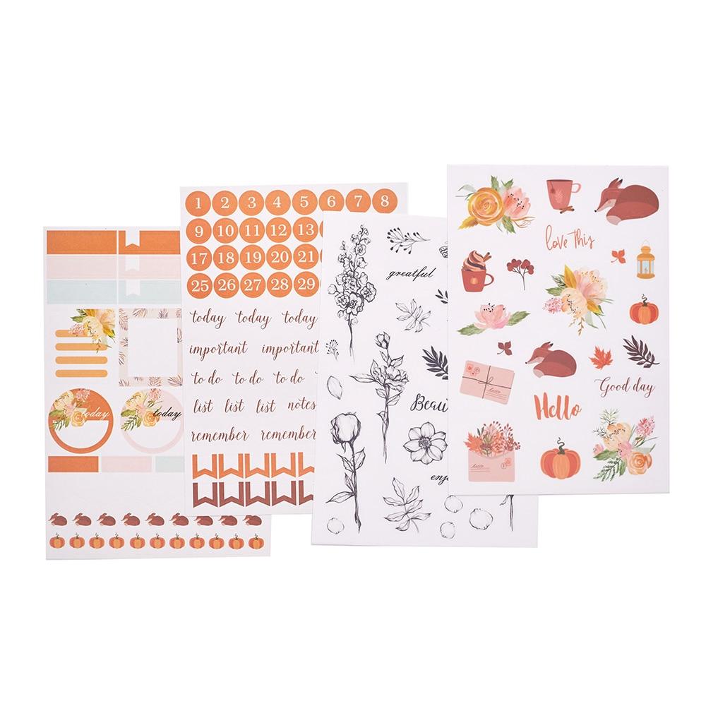 Lovedoki Autumn Pumpkin Christmas Stickers Color Diary Bullet Journal Sticker Scrapbooking Planner Decorative Sticker Stationery