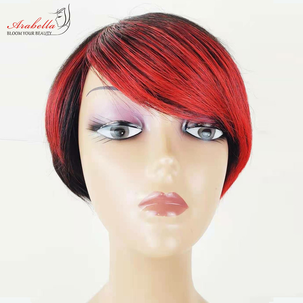 Straight Wig Ombre Glueless Wig 100%  Wigs Pixie Cut Wig  Highlight Arabella  Hair Wig With Bangs 1
