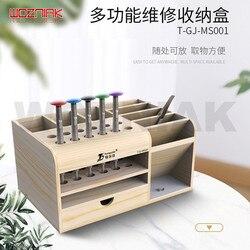 Drewniany wielofunkcyjny schowek mobilny serwis biurko regał magazynowy śrubokręt pincety narzędzie uchwytowe części depozyt w Zestawy narzędzi ręcznych od Narzędzia na