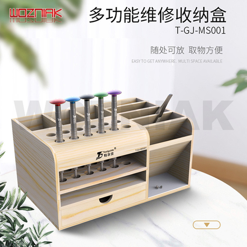 Wooden Multifunctional Storage Box Mobile Service Desk Storage Rack Screwdriver Tweezers Holder Tool Parts Deposit